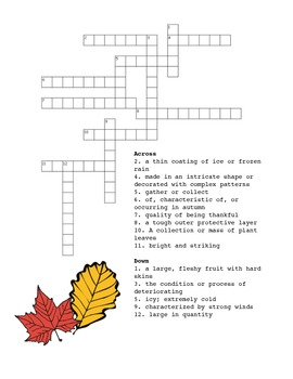 Fall Themed Vocabulary Packet for Middle/High School
