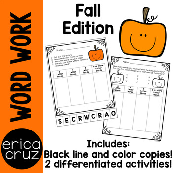 Fall Word Work and Literacy Center Activity