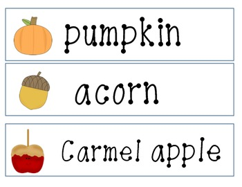 Fall Themed Word Cards (Fall, Thanksgiving, Halloween)