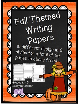 fall themed writing papers autumn stationary by sassycat corner