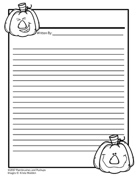 Fall Themed Writing Template Blank with lines Pumpkins
