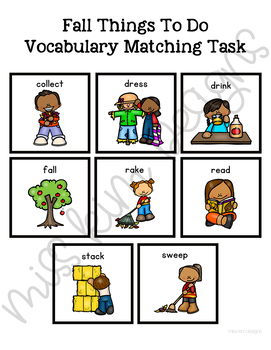 Fall Things To Do Vocabulary Folder Game for Students with Autism