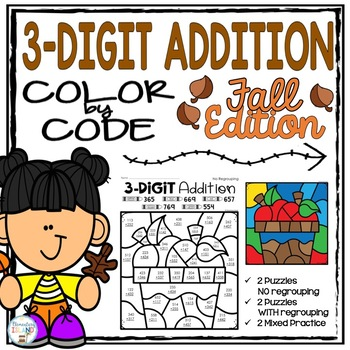 Fall Three Digit Addition Color by Number Differentiated
