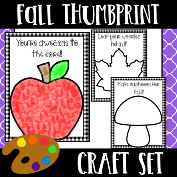 Fall Thumbprint Craftivity - (Includes 5 editable fall themed craft activities)