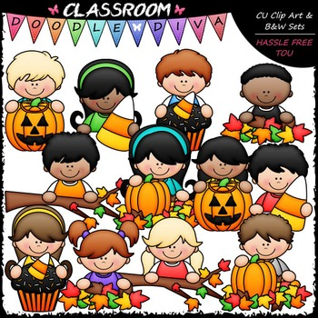 Fall Topper Kids Clip Art - Autumn / Halloween Toppers Clip Art & B&W Set
