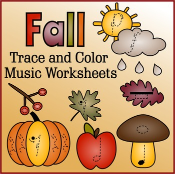 Fall Trace and Color Music Worksheets