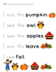 Fall Tracing Sight Words