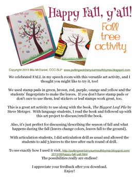 Fall Tree Painting Activity {FREEBIE!}
