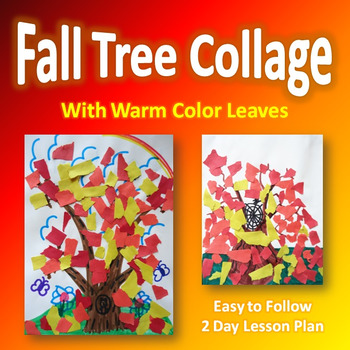 Fall Tree Collage with Warm Color Leaves