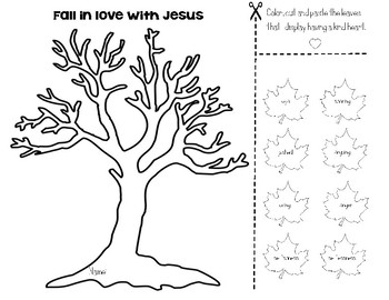 Fall Tree- Fall in love with Jesus Color, Cut, Sort and Paste