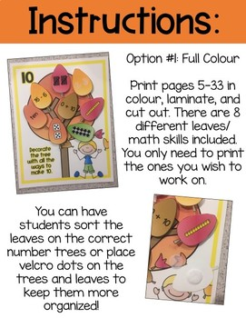 Fall Tree Number Sense Activity {Representing Numbers 0-20}