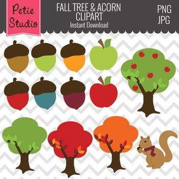 Fall Trees Clipart // Acorn Clipart // Autumn Clipart - Fall117