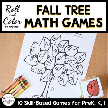 Fall Trees Roll and Color Math Games Set by ECEducation101 | TpT