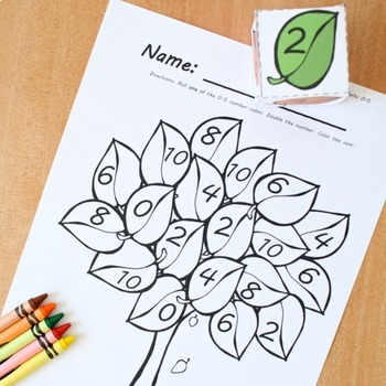 Fall Trees Roll and Color Math Games Set