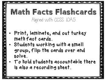 Fall Turkey Math Centers CCSS