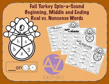 Fall Turkey Spin-a-Sound Beginning, Middle, and Ending Sounds Real vs Nonsense