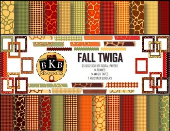 Fall Twiga Digital Papers and Clipart