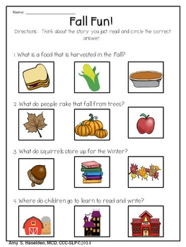 Fall Speech Therapy Original Story Comprehension Articulation Pages Riddle Cards