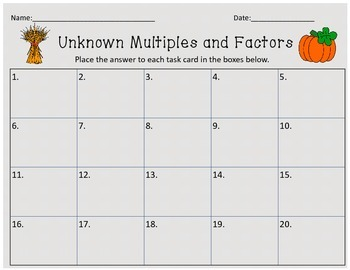 Fall Unknown Factors Multiplication Task Cards