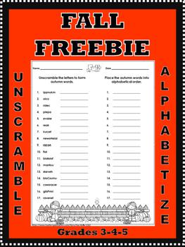 Fall Unscramble and Alphabetize Printable **Freebie**