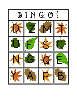 Fall Uppercase Letter Bingo