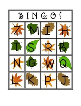 Fall Uppercase Letter Bingo