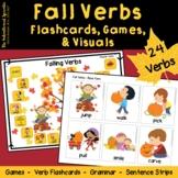 Fall Verbs - Flashcards, Games, & Visuals - Regular & Irregular Past Tense Verbs