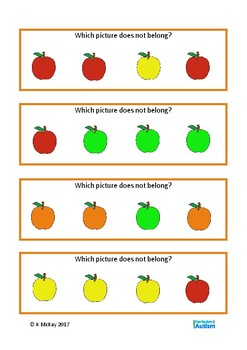 Fall Visual Discrimination Color Size Autism Special Education Basic Concepts