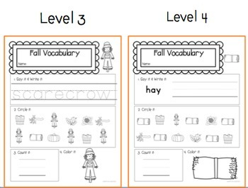 Fall Vocab Worksheets: Special Ed No Prep Printable Pack