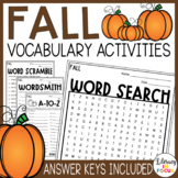 Fall Vocabulary Activities   Fall Word Search