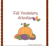 Fall Vocabulary Activities and Worksheet Packet