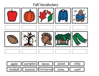 Fall Vocabulary Activity