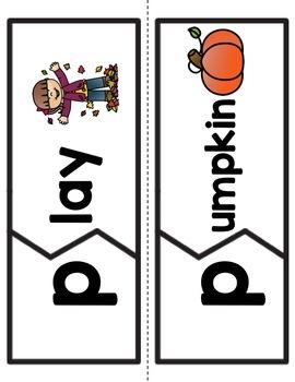 Fall Vocabulary & Beginning Sounds Literacy Center for PreK, K & Homeschool