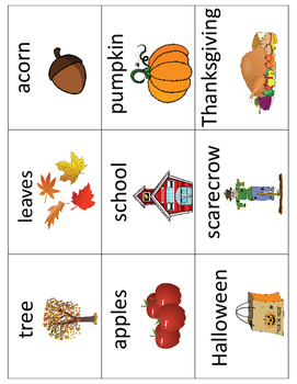 Fall - Autumn Vocabulary Cards - Great for ESL/ENL