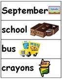 Fall Vocabulary Cards - September, October, November