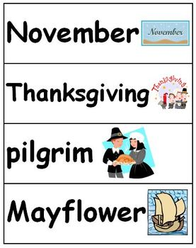 Fall Vocabulary Cards - September, October, November