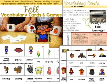 Fall Vocabulary Cards and Games