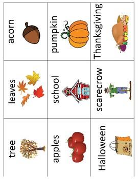 Fall - Autumn Vocabulary Cards and Mini Books BUNDLE