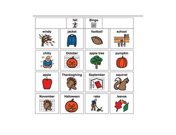 Fall Vocabulary Games: Bingo and Memory