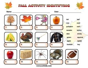 Fall Vocabulary Identification Worksheet