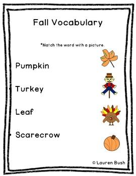 Fall Vocabulary Matching