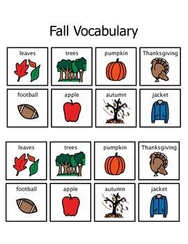 Fall Vocabulary Matching Activity