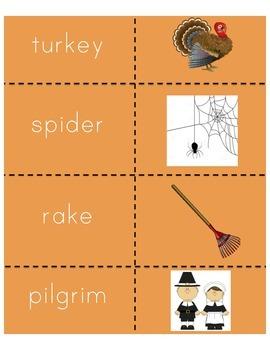 Fall Vocabulary Memory Game