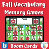 Fall Vocabulary Memory Matching Games Boom Cards™ Autumn S