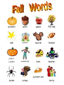 Fall Vocabulary Mini Word Wall