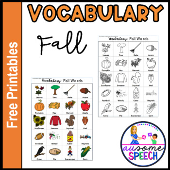 Fall Vocabulary One Page Printable Coloring Page