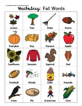 Fall Vocabulary One Page Printable (No Prep)