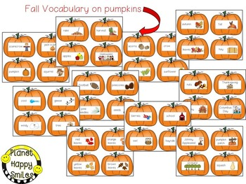 Fall Vocabulary ~ Pumpkin Cards
