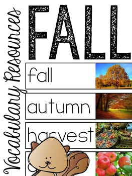 Fall Vocabulary Resources