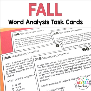 Fall Vocabulary Skills Task Cards